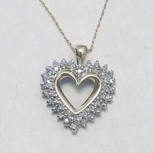 10K Solid Gold & Diamond Heart Necklace